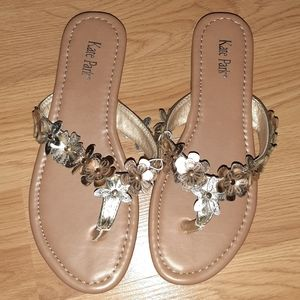 Adorable Metallic Flower Flip Flops